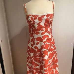 J. Crew Orange Ivory Floral Summer Dress